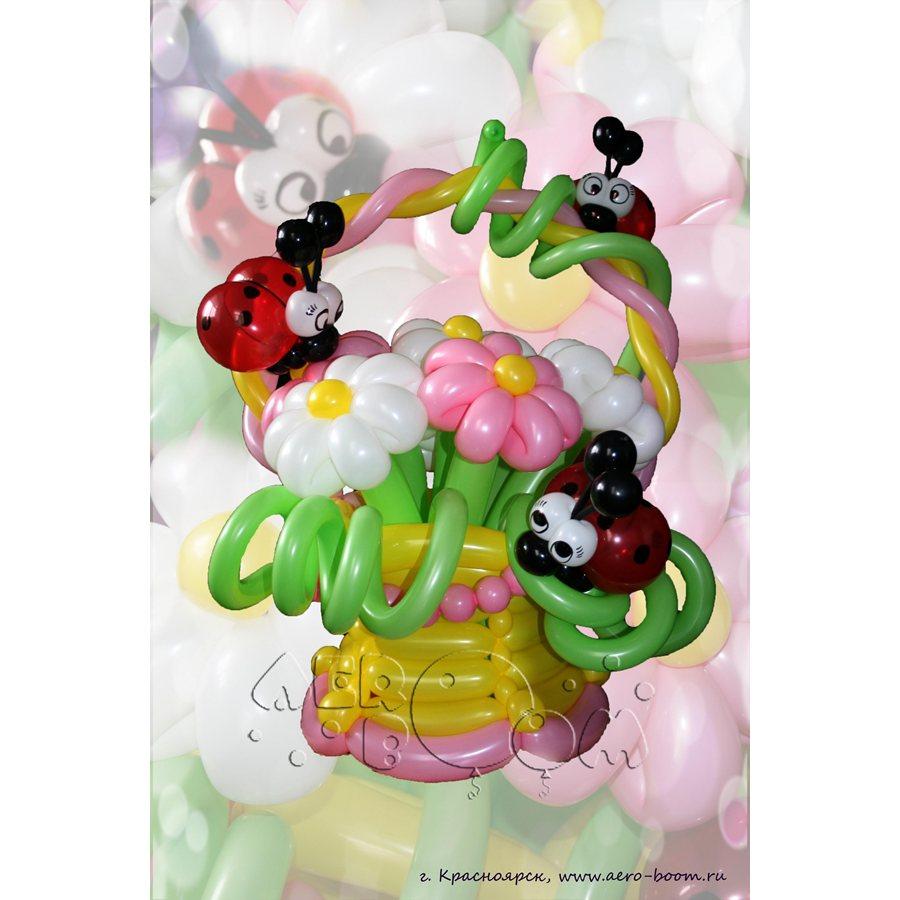 Цветы и корзины из воздушных шаров своими руками